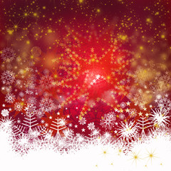 Merry Christmas: Red Background with snowflakes and stars