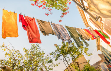 Laundry Line with colorful Clothes