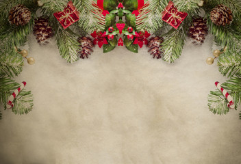 Christmas Border on Parchment
