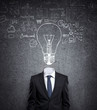 businessman with bulb in head