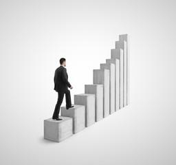 man climbing a column