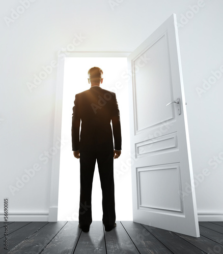 businessman in white room