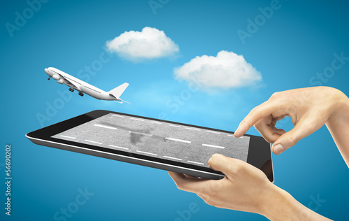 tablet with fly airplane