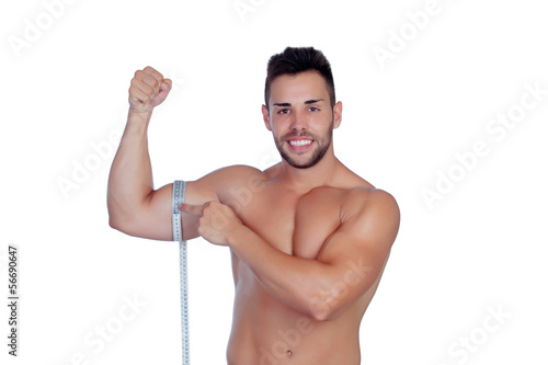 Muscled man with tape measure