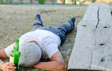 Man experiencing lethargy after excessive drinking