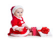 x-mas baby girl opening gift box isolated on white background