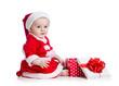 x-mas baby girl opening gift box isolated on white background
