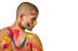 Attractive young man shirtless, skin painted with Honi colors