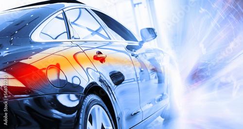 Rear view of luxury car - 56692235