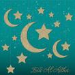 Hanging moon decoration Eid al Adha card in vector format.
