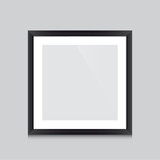 Poster template with black frame square vector design