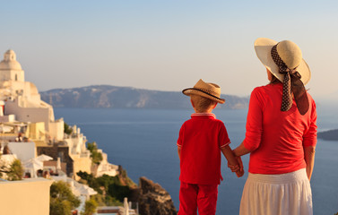 family on vacation in Santorini, Greece