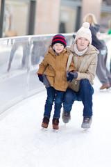 family skating