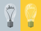 Lightbulb with idea. Vector illustration.