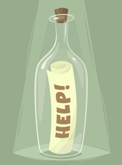 Bottle of help. Vector illustration.
