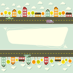Paper urban landscape. Vector illustration.