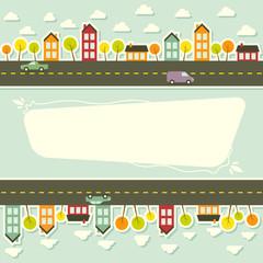 Paper urban landscape. Vector illustration.