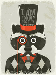 Old photo of hipster raccoon. Vector illustration.