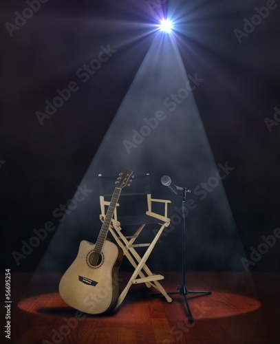 Guitar on Stage with Microphone