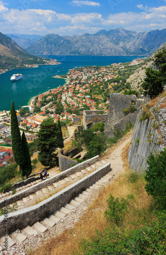 Old town of Kotor and Boka Kotorska bay in Montenegro