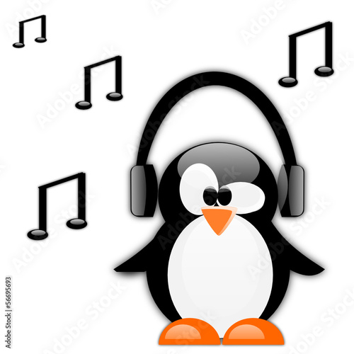 Music icon with penguin