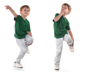 boy standing on one leg