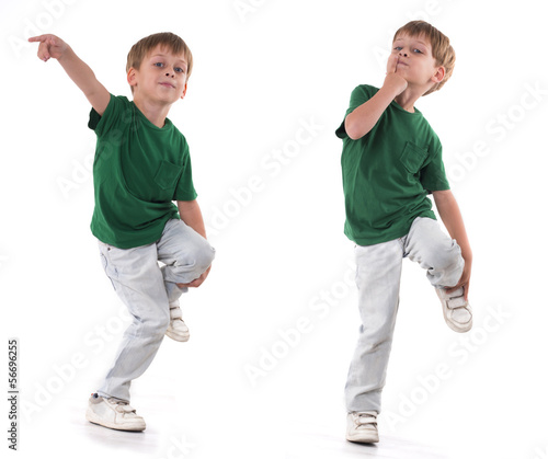 boy standing on one leg