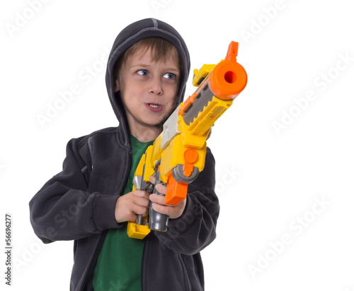 Fotobehang Indiërs boy with toy gun