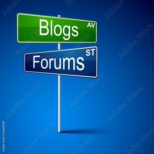 Blogs forums direction road sign.