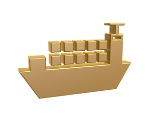 golden cargo ship