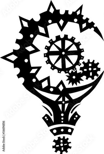 Isolated wood mace  cog as symbol of power tattoo