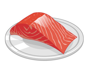 Fish steak of salmon isolated illustration