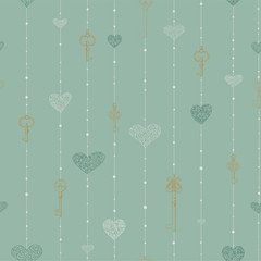 Vintage seamless pattern with hanging keys and hearts.