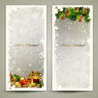 Two Christmas greeting cards with gifts and pine cones.