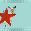 Rudolph Sitting On Red Star & Symbols Retro Dots