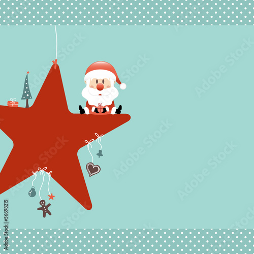 Santa Sitting On Red Star & Symbols Retro Dots