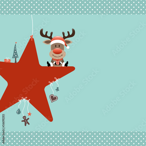 Rudolph Sitting On Red Star & Symbols Retro Dots