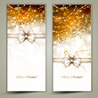 Two gold Christmas greeting cards with bow.