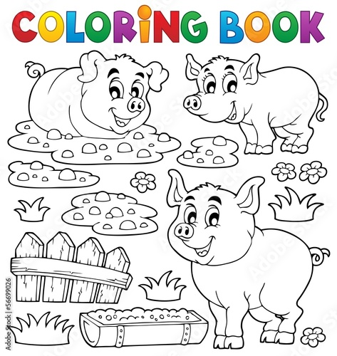 Coloring book pig theme 1