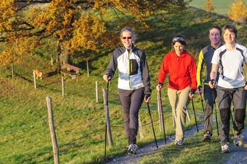 fröhliche Walking-Gruppe