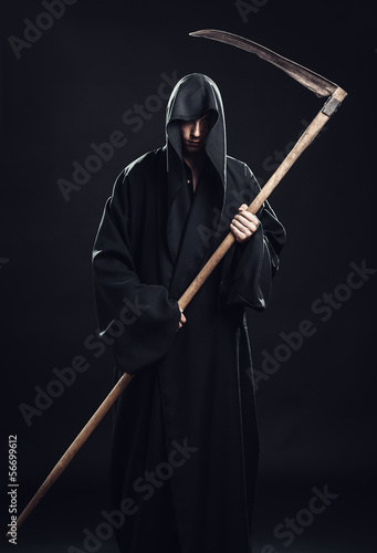 canvas print picture death with scythe standing in the dark
