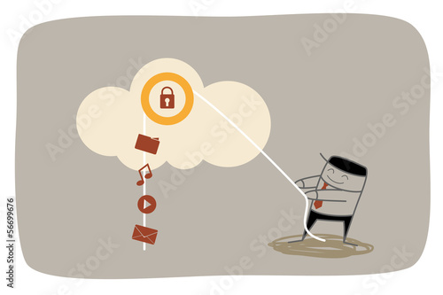 business man upload media to secured cloud storage system