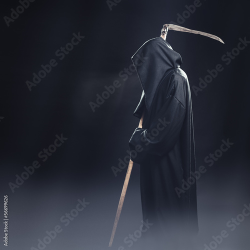 death with scythe standing in the fog at night Poster