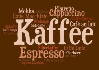 Wordcloud - Kaffezubereitungen braun