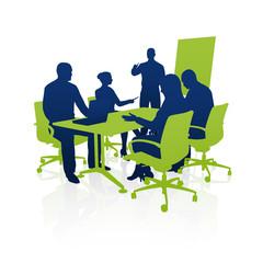 Meeting, Präsentation, Geschäftsleute / Silhouette