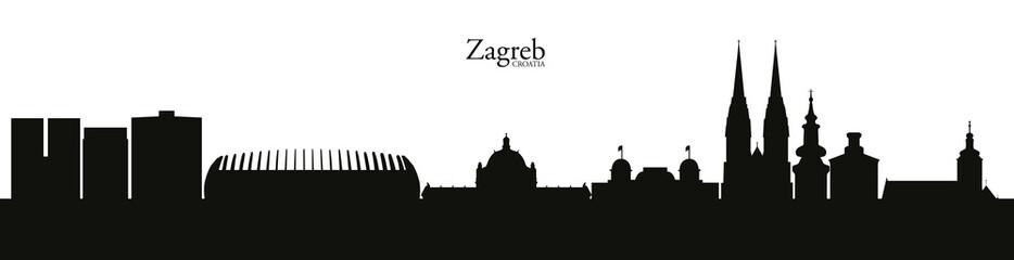 Zagreb skyline silhouette