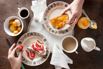 Couple eating romantic breakfast