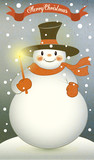 Snowman with Christmas Candle