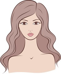 Vector fashion illustration of female silhouette with long hair