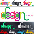 various typographic works on the word 'design)